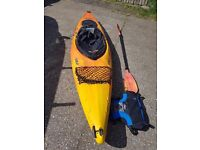 RTM Solo kayak. Paddle , spray deck, boyancy aid