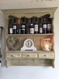 Shabby Chic wall unit - Antique cream finished with Annie Sloan wax, 3 draws