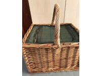Brand new insulated wicker picnic basket and matching rug