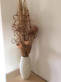 Vase and decorative stics