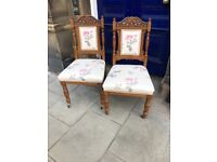 2 matching Oak framed chairs , with floral upholstery . Good quality and good condition £75 each