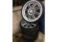 "18"" 4x100/114 alloys with 215/35/18 tyres Vauxhall mini vw Renault Honda Toyota"