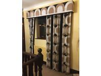Pair of hand made curtains & pelmet