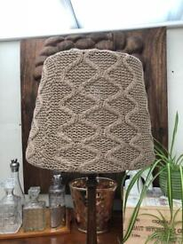 Grey crochet/knitted lampshade