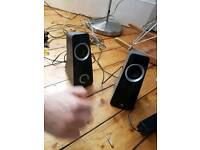 Excellent sound quality Logitech speakers and aux cable