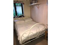 Double metal bed frame, cream. Comes with double mattress