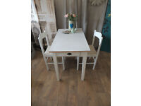 Mid century shabby chic Formica top kitchen table with 2 chairs