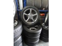 "ORIGINAL 16"" 4 STUD FIVE SPOKE ALLOYS ANTHRACITE GREY JUST BEEN REFURBD NEW TYRES ALL ROUND £200ono"