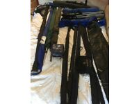 Fishing rods, poles, seats, umbrellas and accessories