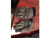 Machine leather motorbike gloves