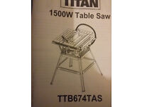 TITAN 1500W Table saw (TTB674TAS) only use once, not even fully assembled