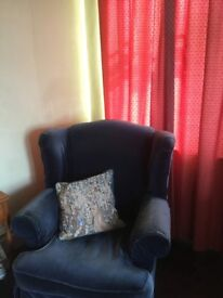 Bedroom suite with wing backed armchair Good condition. Maple bed with side table. Plus wardrobe.