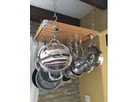 Classic Wooden Hanging Pan Rack (pans not included)