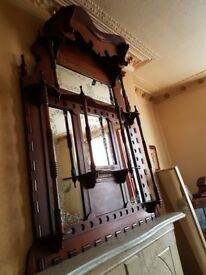 Antique Over Mantle with guiltted inlayed mirrors.