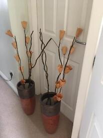 Large vases from Next - excellent condition - bronze/orange