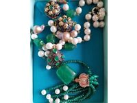 Necklace with pearls and semi precious stones