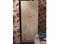 White MDF Chipboard- Wood Effect Free Standing Bedroom Wardrobe With 2 Drawers - Very Good Condition