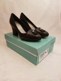 Clarks Applique Print Ladies Shoes | Black leather | Brand New in Box