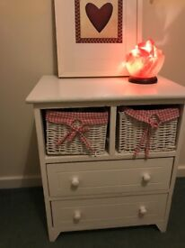 Boho chic white wooden bedside table