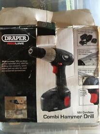 Draper battery drill and two batteries. No charger