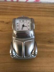 Silver VW Beetle novelty clock