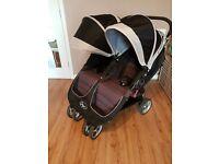 Baby Jogger City Mini Double Pushchair Pram Black with Raincover