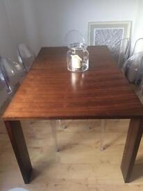 Wooden brown table & chairs