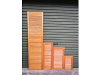 11 Louvre cupboard doors - various sizes (second hand)