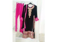 Pink & Gold Asian suit withheavy embroidery. size 10. Worn few times.