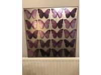 Pretty metallic distressed-style butterfly print wall canvas 57x57cm