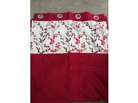 Red lined eyelet curtains 2 pairs 66 x 72