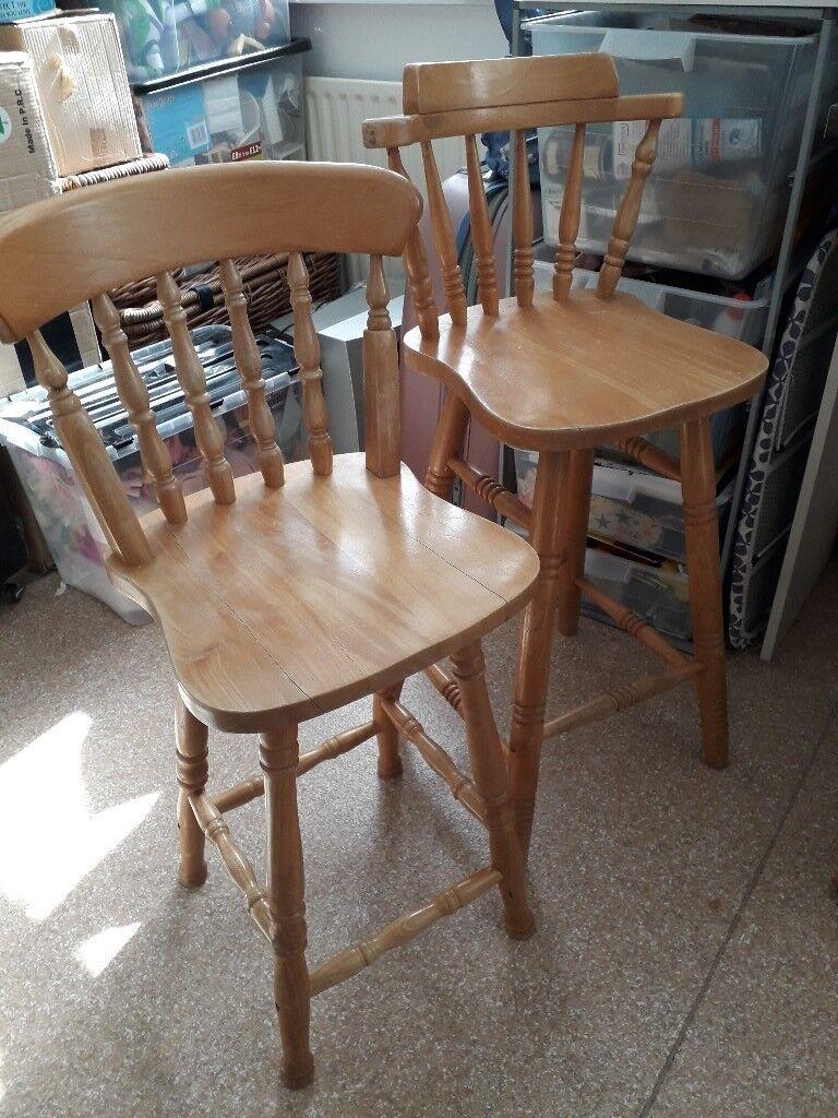 Amazing Two Pine Breakfast Bar Stool Chairs In Lymington Hampshire Gumtree Evergreenethics Interior Chair Design Evergreenethicsorg