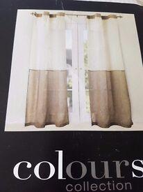 Eyelet 100% Linen Kali & Natural Voile Curtains