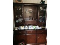 Large living room cupboard with glass fronted display