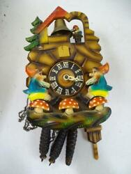 Vintage Mid Century Black Forest Germany Gnome Cuckoo Clock Bell Carved Wall Old