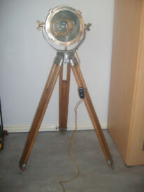 ORIGINAL ~ MARITIME ~ SHIPS ~ SEARCHLIGHT ~ ON~ AN ~ ORIGINAL ~ SURVEYERS ~WOOD ~ TRIPOD ~ RESTORED.