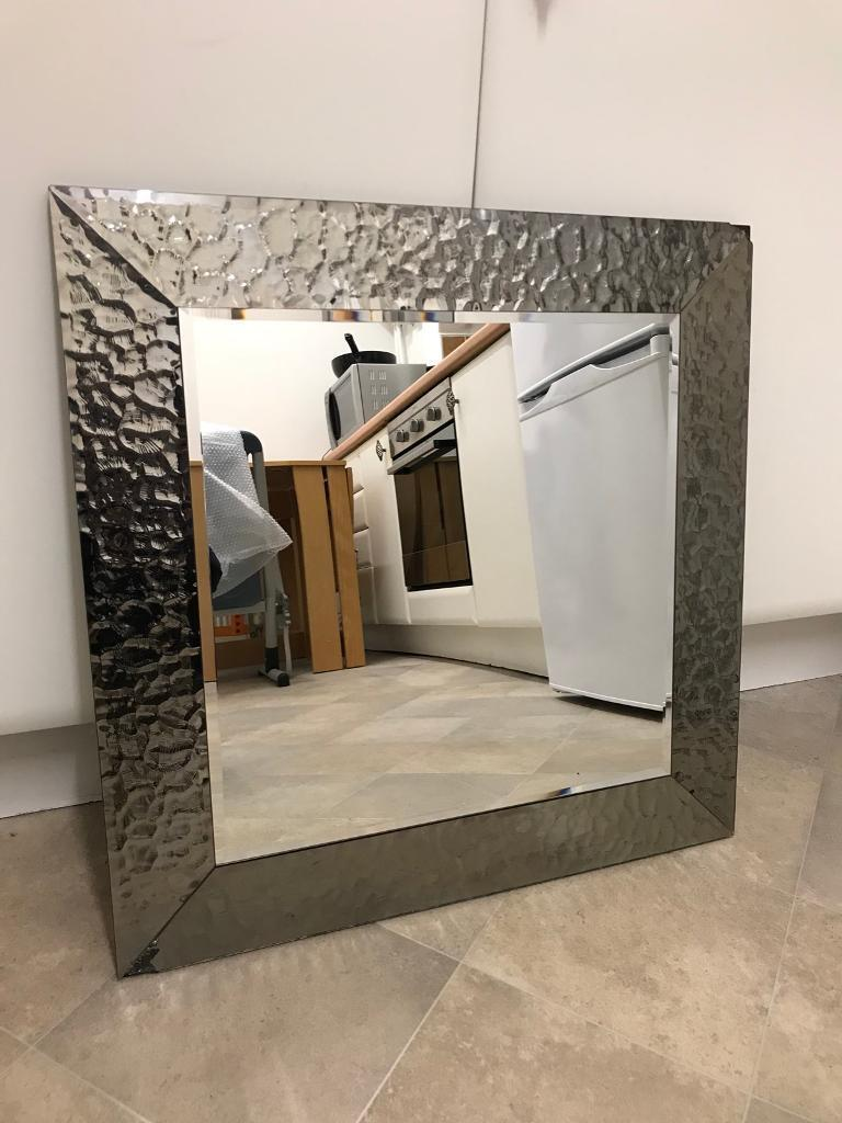 Large Mirror With Hammered Metal Frame