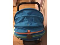 Stokke Scoot Pushchair in royal blue includes rain cover & insect net