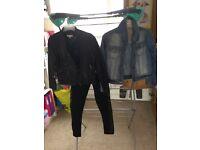 Girls Black Leather Jacket with Biker Pants + Denim Jacket