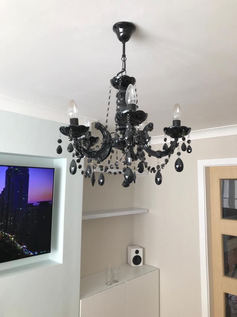 B Amp Q Black 5 Arm Chandelier In Rotherham South Yorkshire