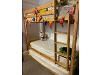 Triple bunk beds with full size single mattresses