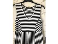 Blooming Marvellous Size 10 Black White Striped Maternity Dress Mothercare