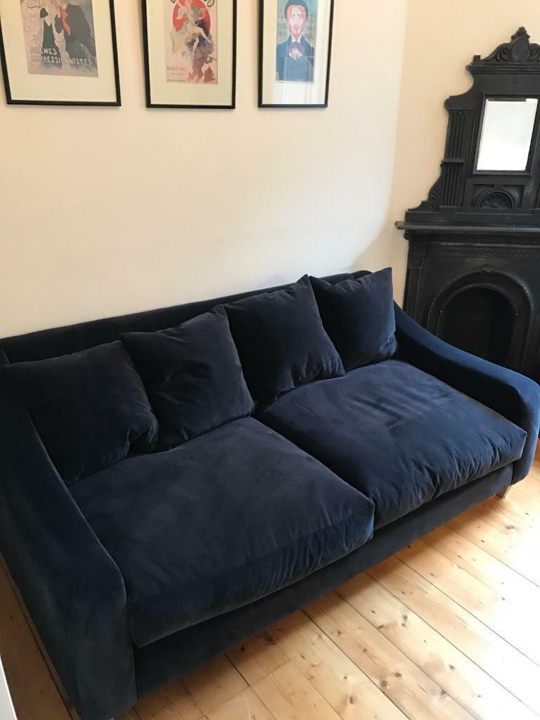 Medium Navy Blue Velvet Sofa Matching Footstool Available