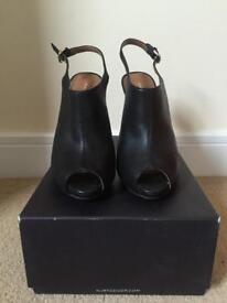 Kurt Geiger Open Toe Black Leather Heels