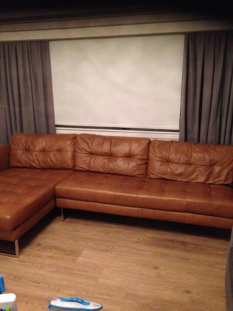 Dwell Paris Tan Leather Corner Sofa And 2 Seater