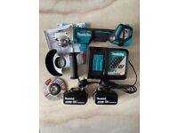 Makita DGA469Z 18V 115mm BL LXT X-Lock Angle Grinder, 2x %ah Batteries & Charger