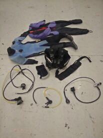 SCUBA Equipment Lot - BCD, 2x Regulators, Drysuit, Weight belt, Hood