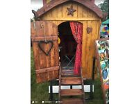Children's Glamping, shepherds hut, playhouse, Wendy house, gypsy caravan, rustic wagon