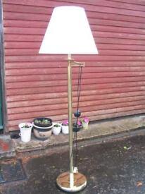 brass standard lamp floor standing lamp adjustable swing-arm with cream shade