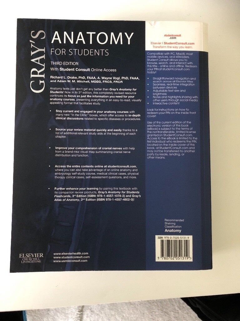 Grays Anatomy For Students 3rd Edition In Middlesbrough North